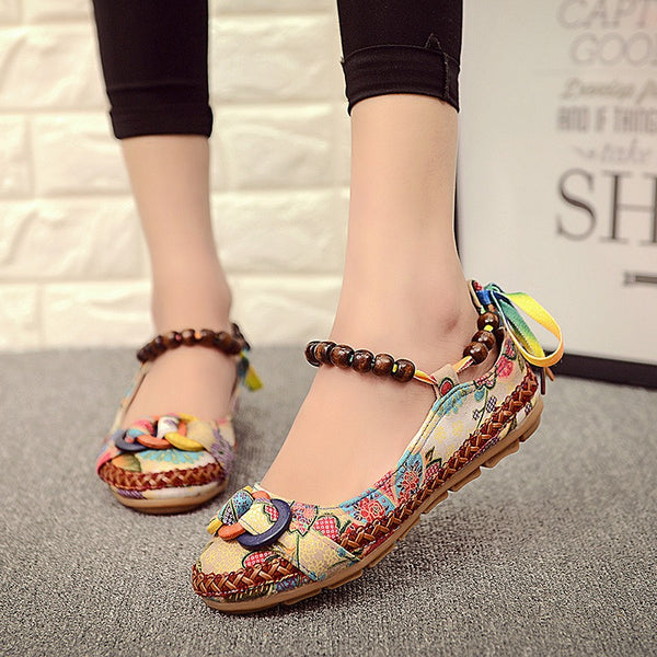 COLORFUL LINEN FLAT LOFERS FLAT SHOES