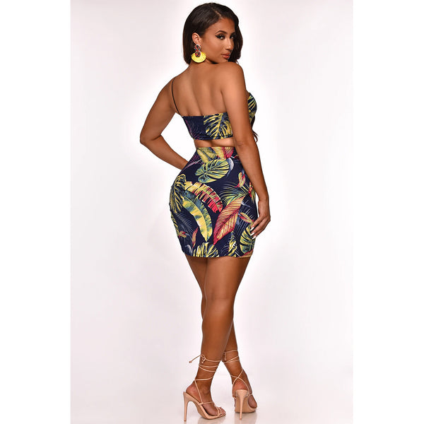 ONE-SHOULDER STRAPLESS PRINTED TWO-PIECE DRESS