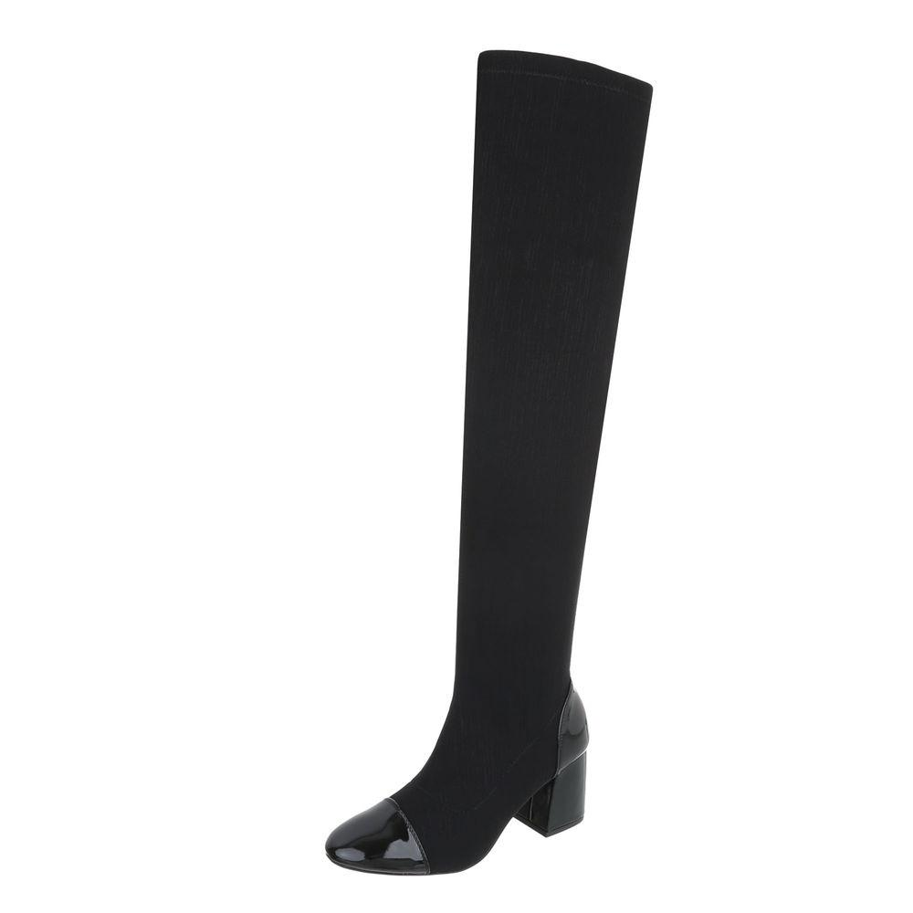 BLACK MID HEEL OVER THE KNEE  BOOTS