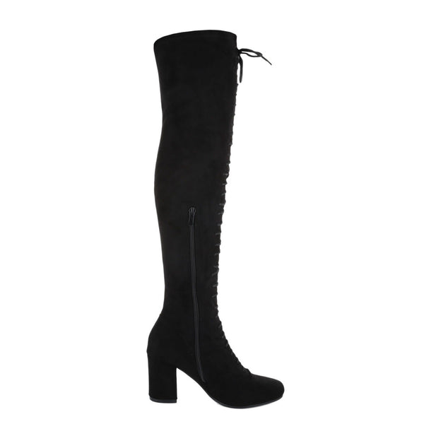 FRONT LACE UP SUEDE KNEE HIGH BOOTS