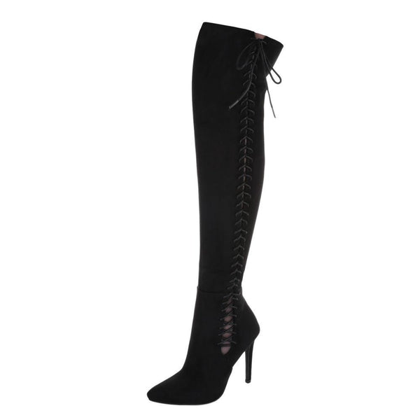 SIDE LACE UP SUEDE KNEE HIGH BOOTS