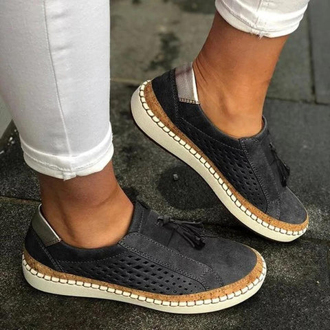 TRENDY HOLLOW OUT FRINGE LOAFERS FLAT SNEAKERS -BLACK