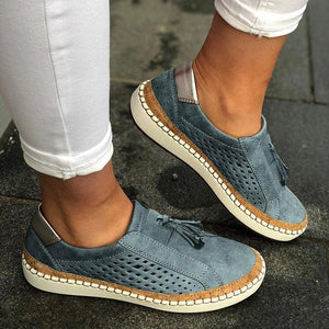 TRENDY HOLLOW OUT FRINGE LOAFERS FLAT SNEAKERS -BLUE