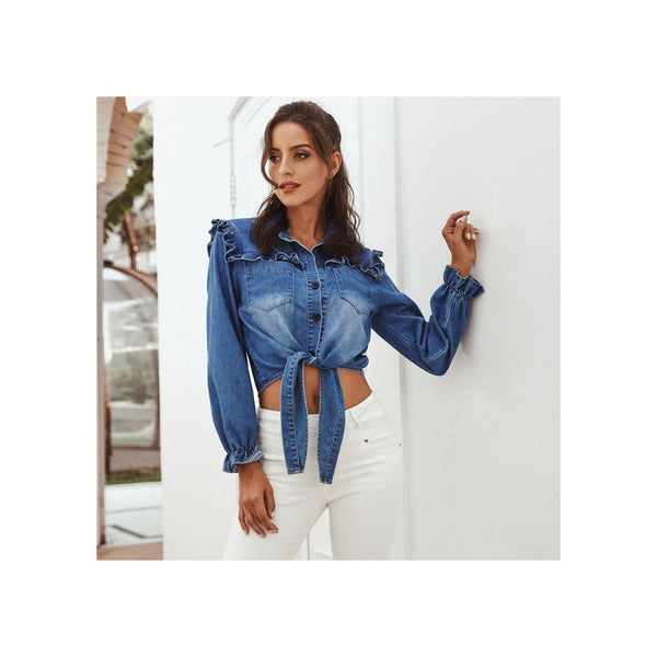 BLUE MID WASHED TIE FRONT CROPPED DENIM SHIRT