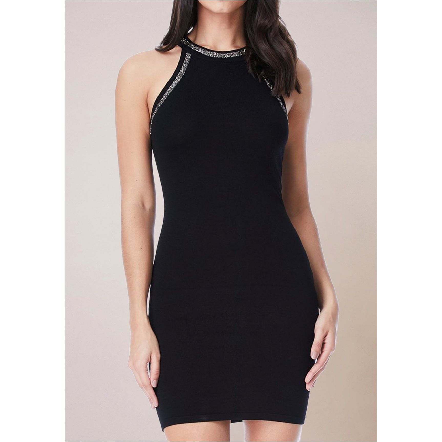 BLACK  BODYCON DRESS WITH LACE UP DETAILS