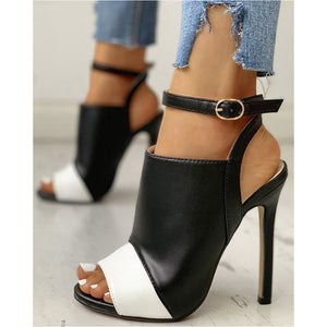 BUCKLE BELT HEELED STILETTO SHOES