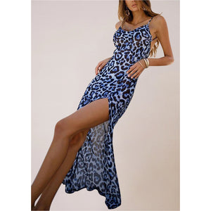 BLUE ANIMAL PRINT STRAPPY SATIN COWL MIDI DRES