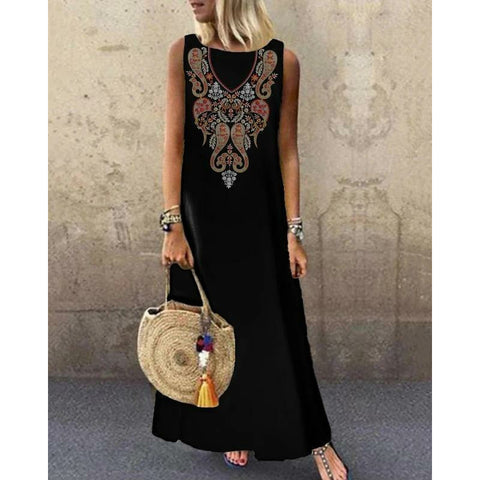 BLACK EMBROIDERED SUMMER MAXI DRESS