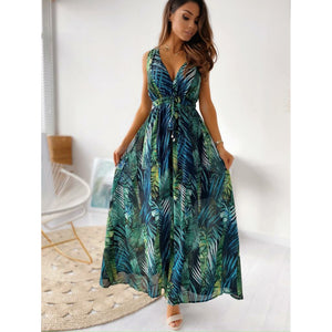 GREEN FLORAL LEAF PRINT SUMMER MAXI DRESS