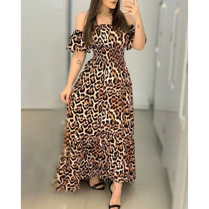 LEOPARD BARDOT CHAIN PRINT MAXI DRESS