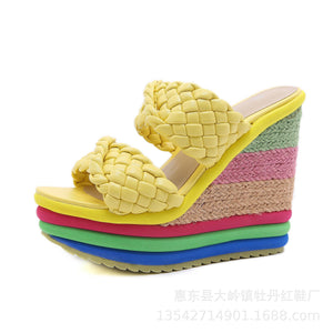 KROSS STRAP ESPANRILLE WEDGE SANDALS YELLOW