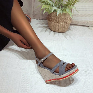 HOLIDAY MOOD SUEDE BUCKLE DETAIL WEGDED HEELS- GREY