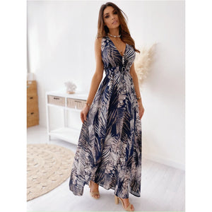 BLUE FLORAL LEAF PRINT SUMMER MAXI DRESS