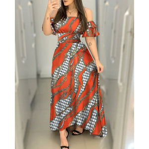RED & WHITE BARDOT CHAIN PRINT MAXI DRESS