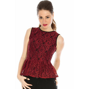 LACE FRILL PEPLUM TOP- WINE