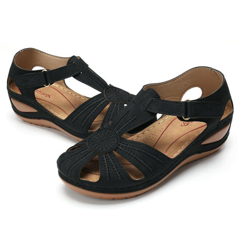 LIGHTWEIGHT SPLICING SOFT SOLE SANDALS BLACK