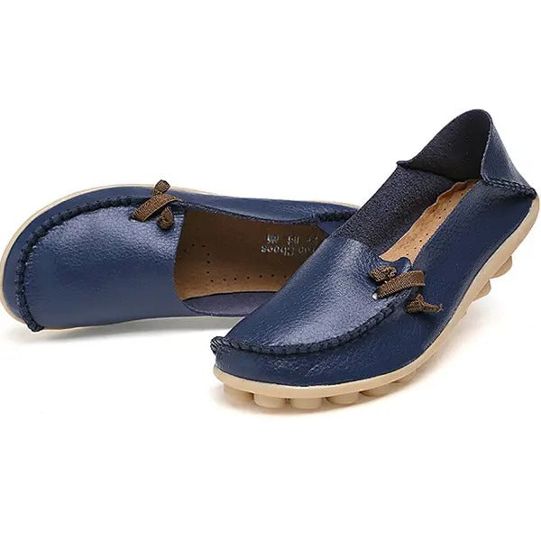 SOFT LEATHER  MULTIWAY FLAT LOAFERS DARK BLUE