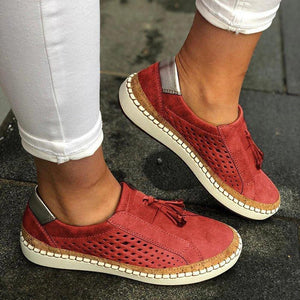 TRENDY HOLLOW OUT FRINGE LOAFERS FLAT SNEAKERS -RED
