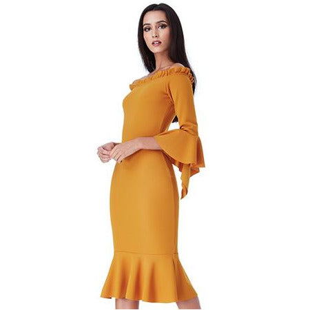 MUSTARD BARDOT MIDI DRESS WITH FRILL DETAILS