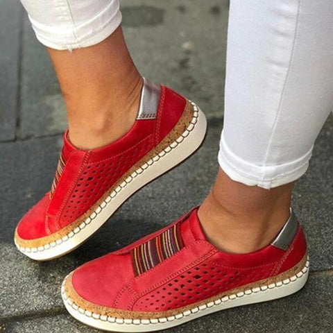 KAMMY HOLLOW OUT FLAT LOAFERS SPLICING SNEAKERS -RED