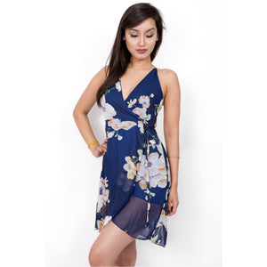 FLORAL PRINT CHIFFON WRAP DRESS CROSS BACK