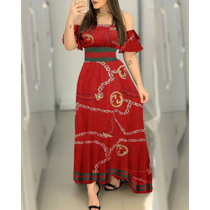 RED BARDOT CHAIN PRINT MAXI DRESS RED