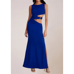 BLUE WAIST CUTOUT MAXI DRESS