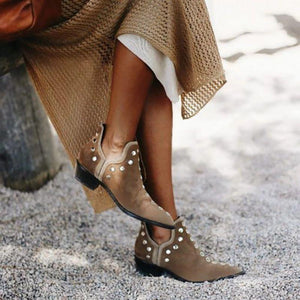 STUDS POINTED TOE RIVETS ANKLE BOOTS KHAKI