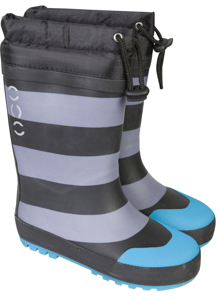 Winter Wellies Striped Black Blue 190
