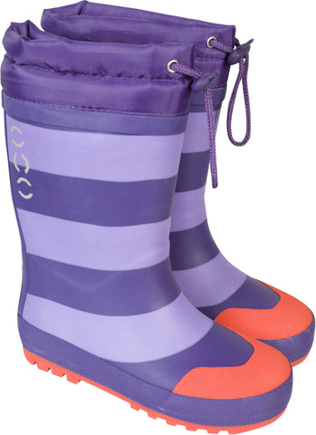 Winter Wellies Striped Purple 744
