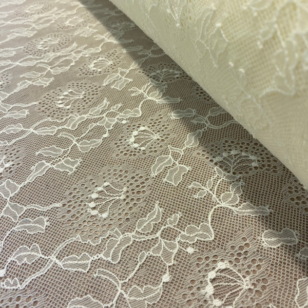 Ivory Sophie Hallette Allover Leavers Lace (130cm wide) - 1m