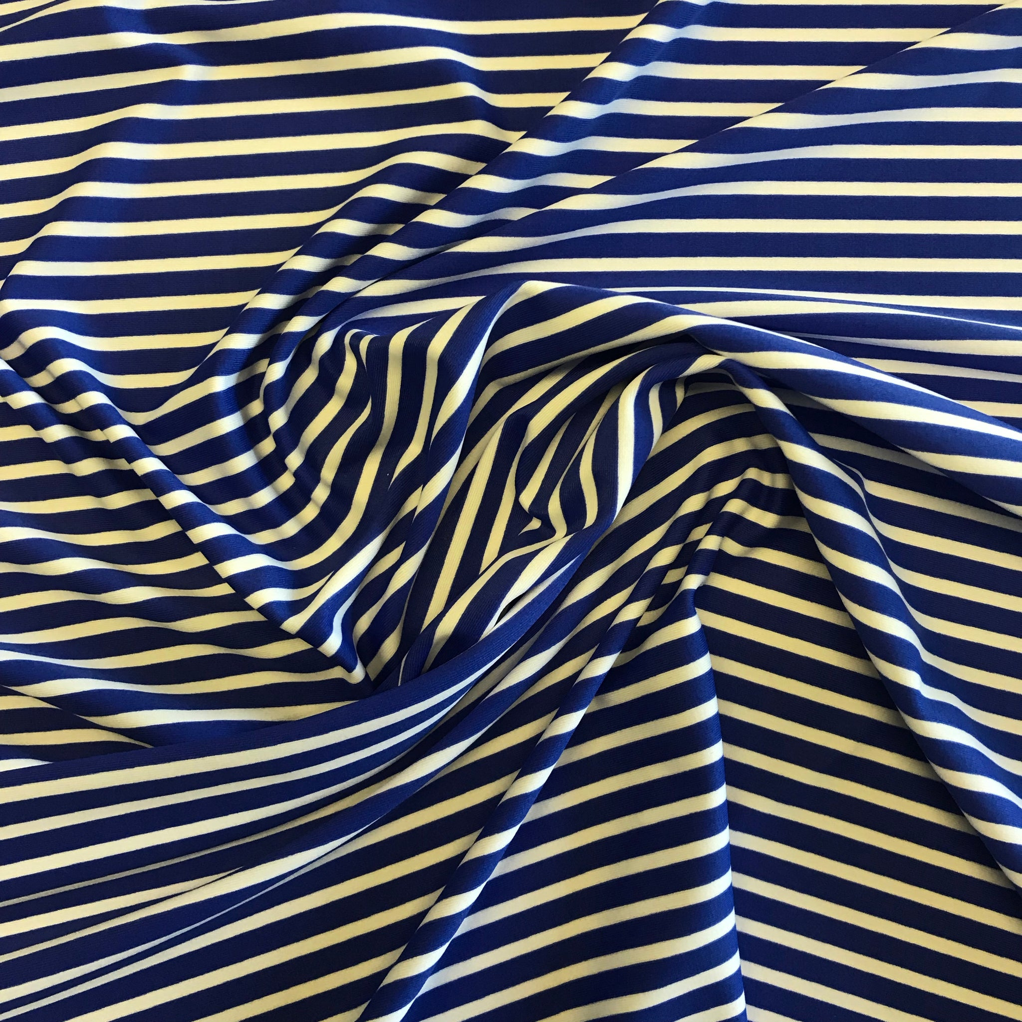 Stretch Royal Blue & White Stripe Lycra Fabric 1m