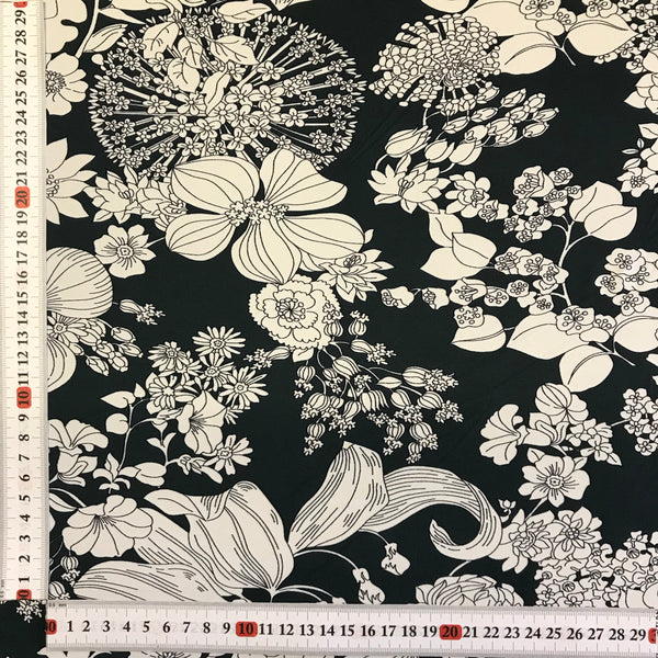 Stretch White Floral on Green Cotton Feel Lycra Fabric 1m