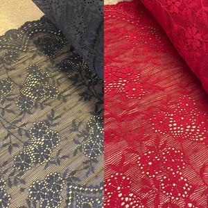 Black or Red Floral Lace (20.5cm Wide) - 1m