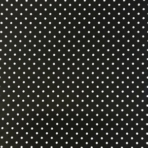 Stretch Black White Polka Dot Spot Lycra Fabric 1m