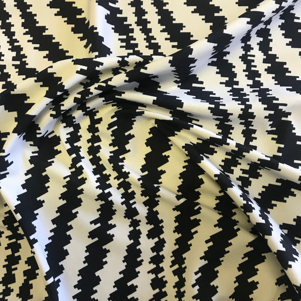 Stretch Black & White Digital Zebra Lycra Fabric 1m