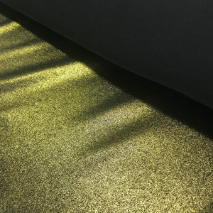 Stretch Metallic Gold on Black Lycra Fabric 1m