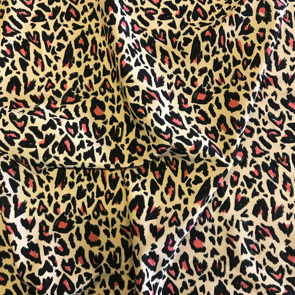 Stretch Black Pink & Beige Leopard Heart Lycra Fabric 1m
