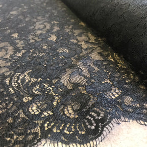 Black Allover Rigid Eyelash Lace 135cm wide - (1m)