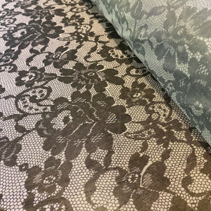 Black Lace Print Soft Lightweight Stretch Mesh Tulle Net - 1m