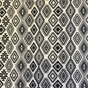 Stretch Black White Diamond Lycra Fabric 1m