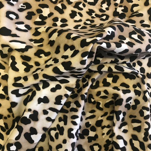 Stretch Black White Leopard Skin Lycra Fabric 1m