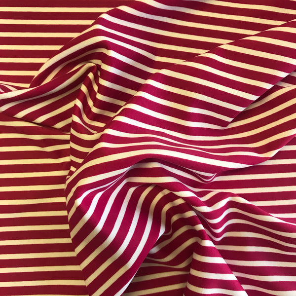 Stretch Fuchsia Pink White Stripe Lycra Fabric 1m