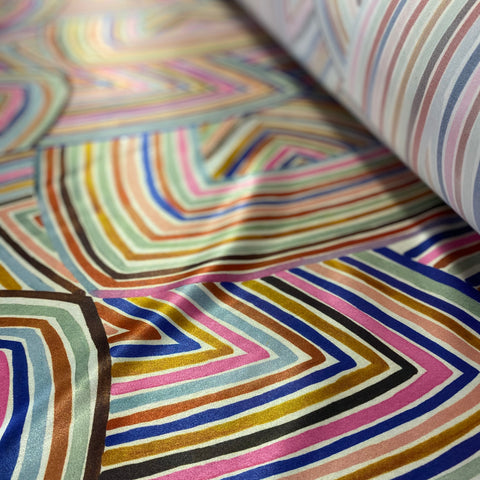 Boselli Multicolour Stripe Print Stretch Satin 1m - (175cm wide)
