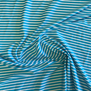 Stretch Aqua Blue & White Stripe Lycra Fabric 1m
