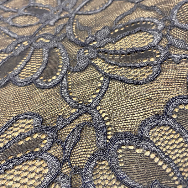 Titanium Grey Sophie Hallette Allover Stretch Corded Lace (130cm wide) - 1m