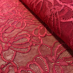 Ruby Red Sophie Hallette Allover Stretch Corded Lace (130cm wide) - 1m