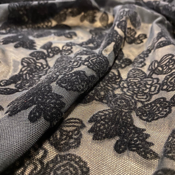 Black Floral Flocked Velour Soft Lightweight Stretch Embroidery on Black Mesh Tulle Net - 1m