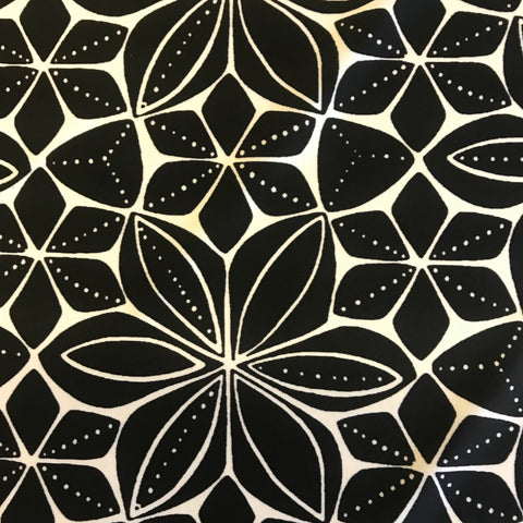 Stretch Black & White Floral Lycra Fabric 1m