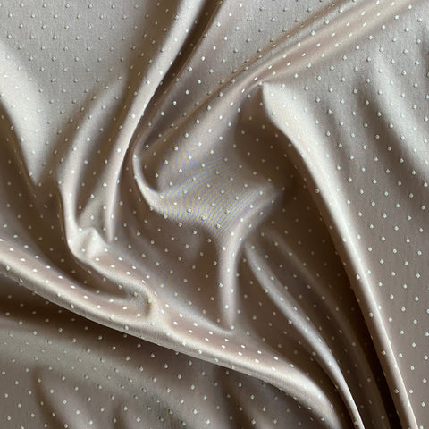 "Boselli Segrino Spotty ""Cafe Au Lait"" Stretch Satin 1m - (98cm wide)"